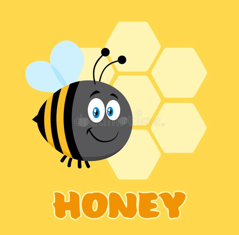 Feliz manosee el vuelo de la abeja del personaje de dibujos animados de la abeja en los panales de Front Of A con el texto foto de archivo libre de regalías