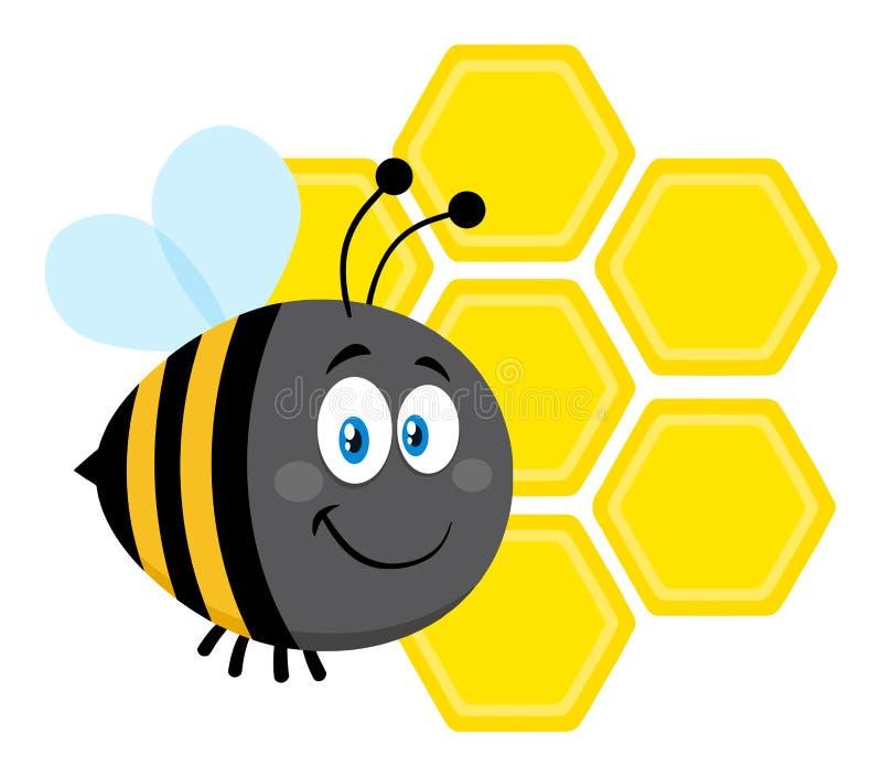Feliz manosee el vuelo de la abeja del personaje de dibujos animados de la abeja en los panales de Front Of A imagenes de archivo