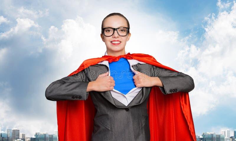 Feliz mujer de negocios super heroína imágenes de archivo libres de regalías