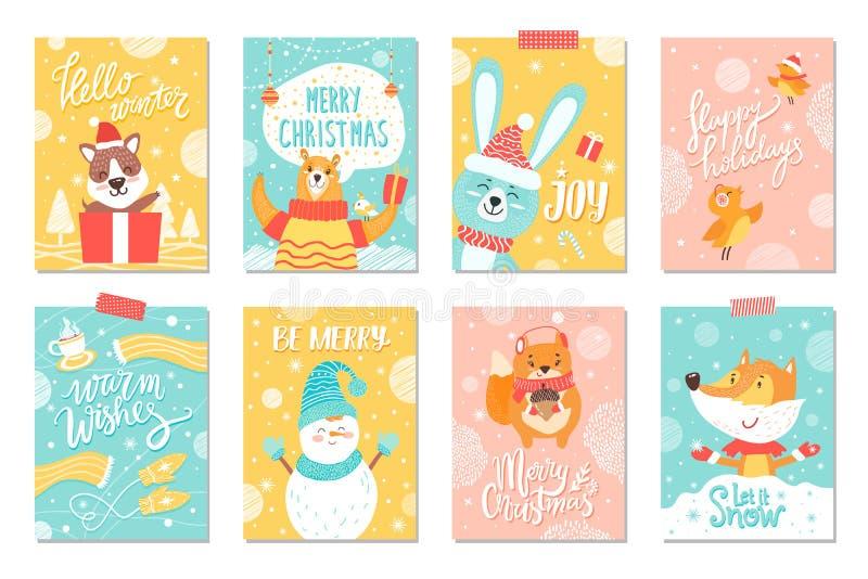 Feliz Natal ajustado de cartazes dos feriados de inverno ilustração stock
