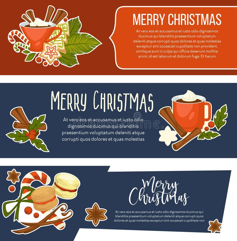 Feliz Natal ano novo feliz, celebração dos feriados de inverno ilustração do vetor