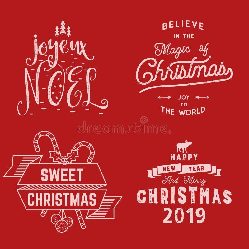 Feliz Natal Ano novo feliz, Joyeux Noel 2019 Grupo da tipografia Logotipo do feriado, emblemas, projeto do texto Uso para camisas ilustração royalty free