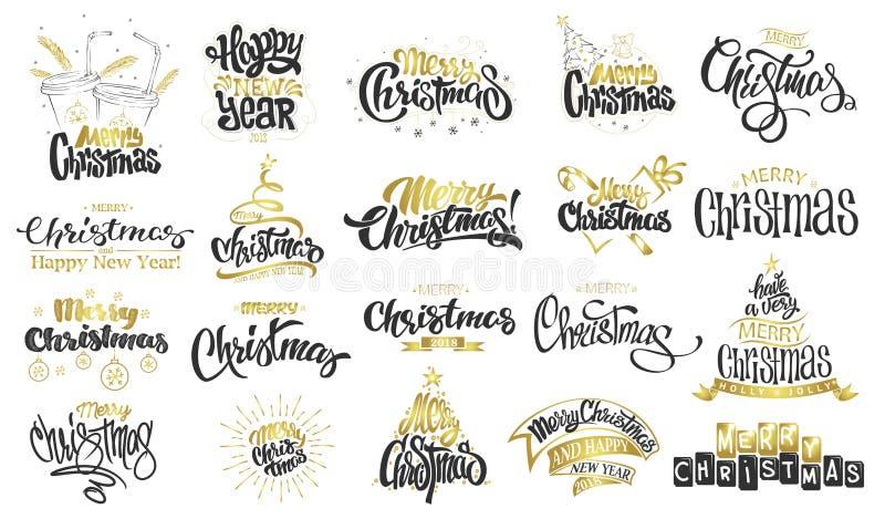 Feliz Natal Ano novo feliz Rotulação moderna escrita à mão da escova, grupo da tipografia ilustração stock