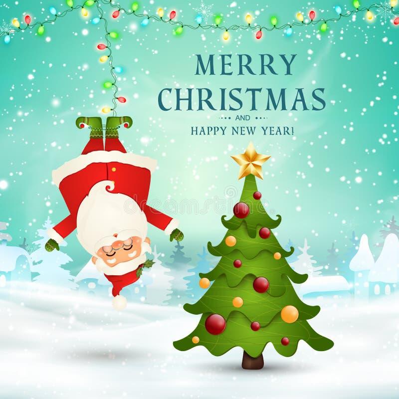 Feliz Natal Ano novo feliz suspensão engraçada de Santa Claus de cabeça para baixo na cena da neve do Natal com neve de queda, fe ilustração do vetor
