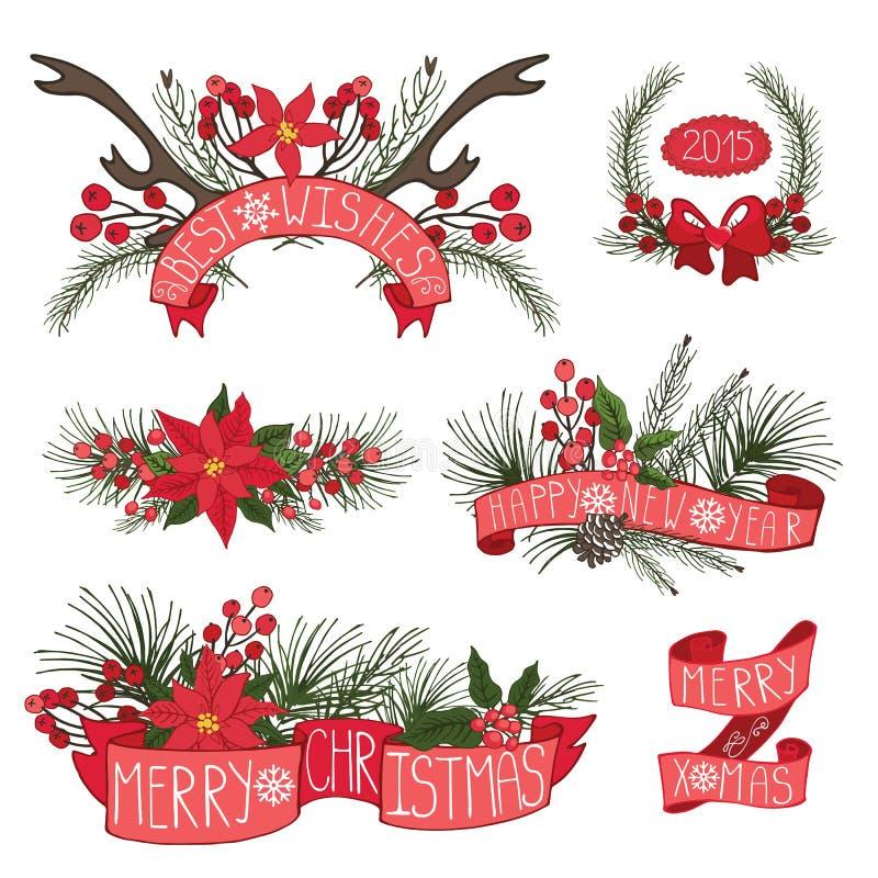 Feliz Natal, beira do ano novo, fitas, grupo ilustração royalty free