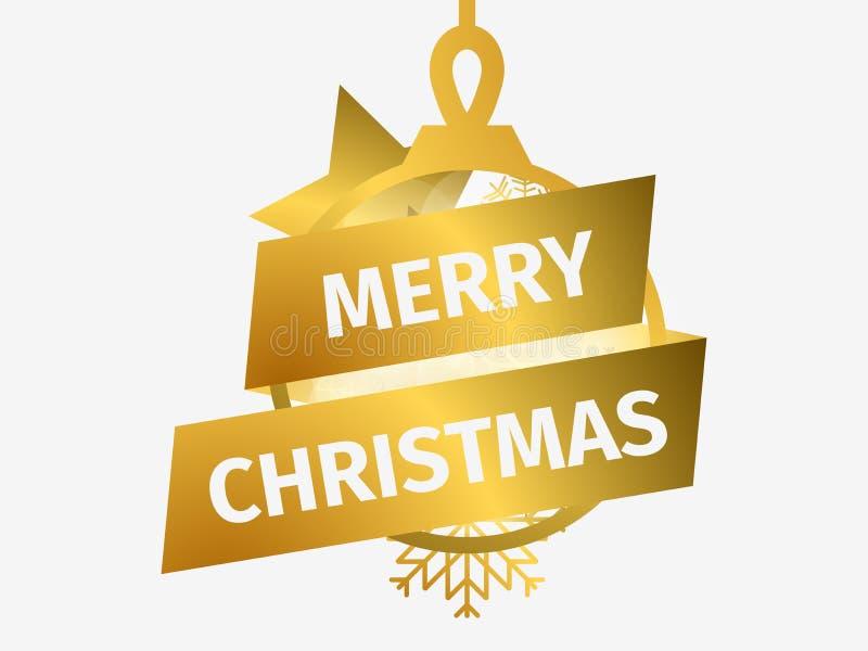 Feliz Natal Bola do Natal com estrela e flocos de neve Molde do projeto de cartão com inclinação do ouro Vetor ilustração do vetor