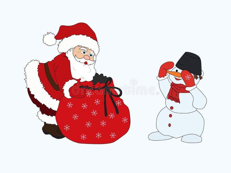 Feliz Natal boneco de neve e presente eps10 do saco de Papai Noel ilustração do vetor