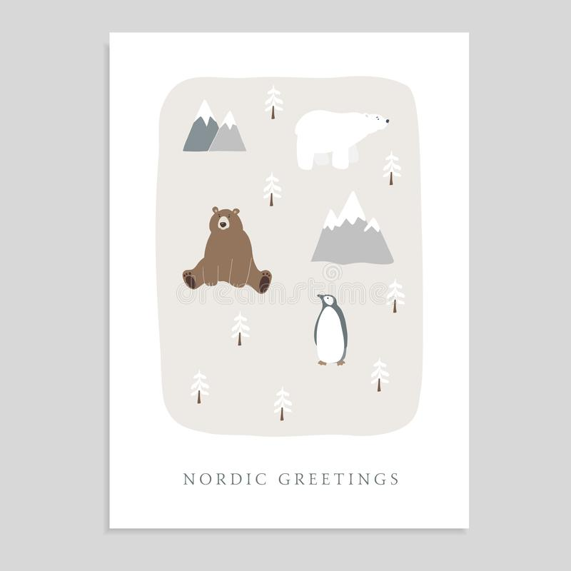 Feliz Natal bonito cartão, convite com urso, urso polar, pinguim, abeto e montanhas Miúdos tirados mão ilustração stock