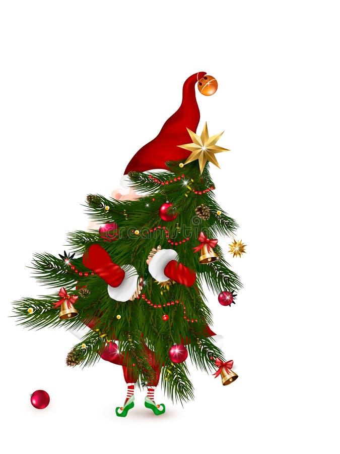 Feliz Natal Natal bonito, Papai Noel para o inverno e os feriados do ano novo Ilustração de temas do Natal para o projeto ilustração stock