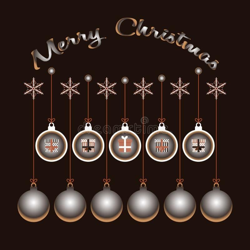 Feliz Natal Caixas festivas e bolas do Xmas ilustração do vetor