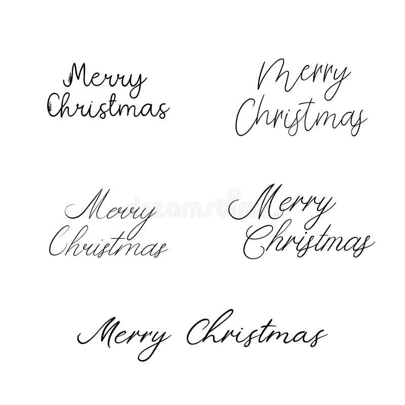 Feliz Natal Caligrafia do feriado Rotulação escrita à mão da escova para o cartão, cartaz, convite, bandeira ilustração stock