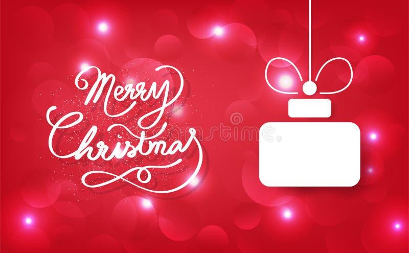 Feliz Natal, caligrafia, presente da decoração, celebração para h ilustração stock