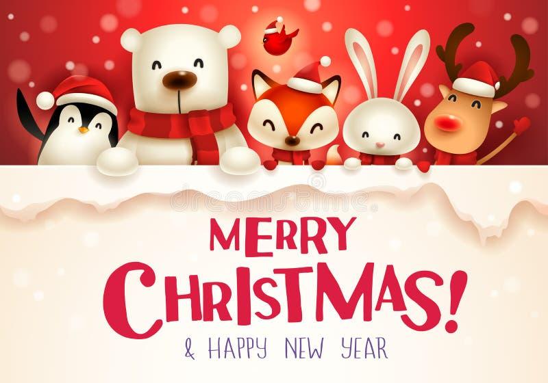 Feliz Natal! Caráter bonito dos animais do Natal com signb grande ilustração do vetor