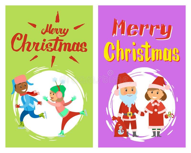 Feliz Natal, caráteres dos feriados de inverno do Xmas ilustração stock