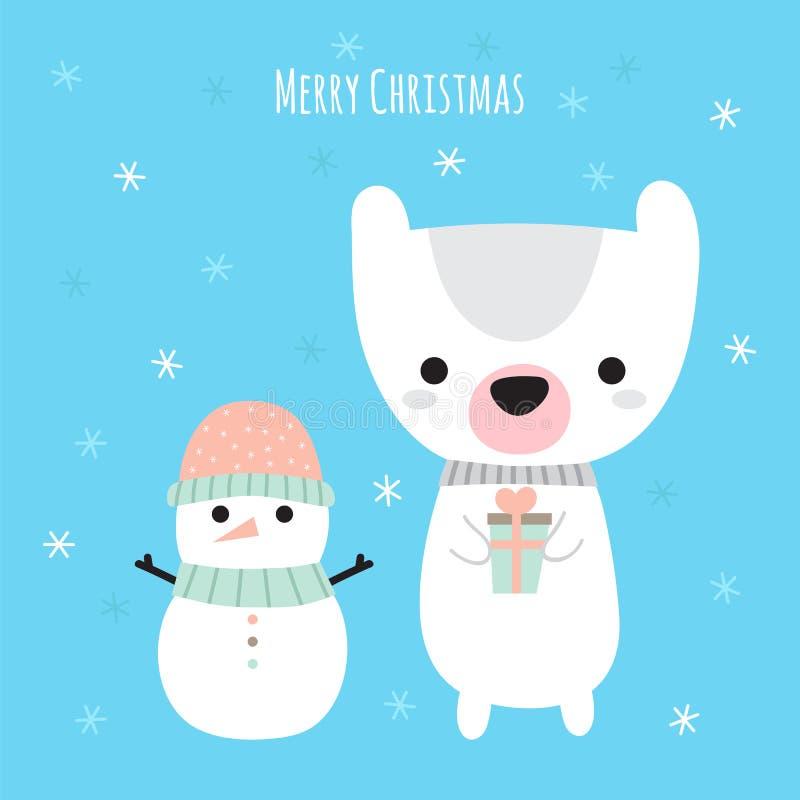 Feliz Natal Cartão bonito do Natal Boneco de neve dos desenhos animados e urso engraçado Feriados de inverno ilustração do vetor
