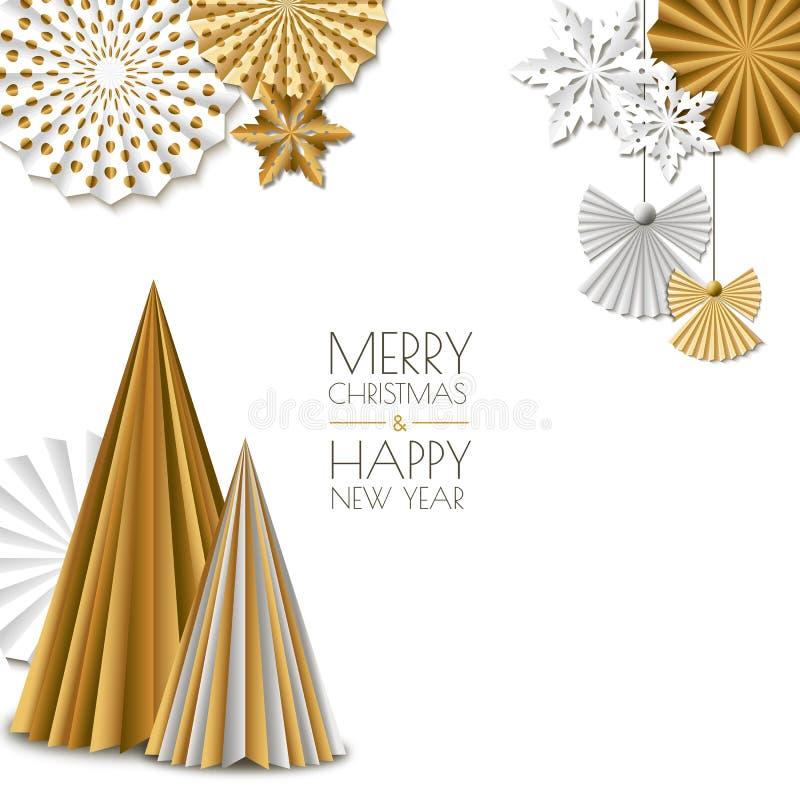 Feliz Natal, cartão do ano novo feliz Vector flocos de neve de papel dourados da decoração, árvore de Natal, anjo ilustração do vetor