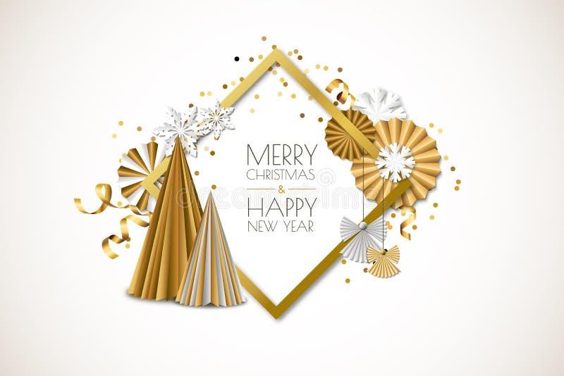 Feliz Natal, cartão do ano novo feliz Vector o quadro com as estrelas de papel douradas, árvore de Natal, anjos, flocos de neve ilustração royalty free