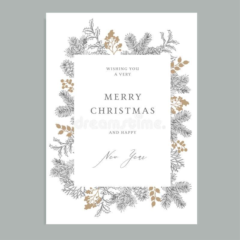Feliz Natal, cartão floral do vintage do ano novo feliz, convite Quadro do feriado com ramos de árvore sempre-verdes do abeto ilustração do vetor