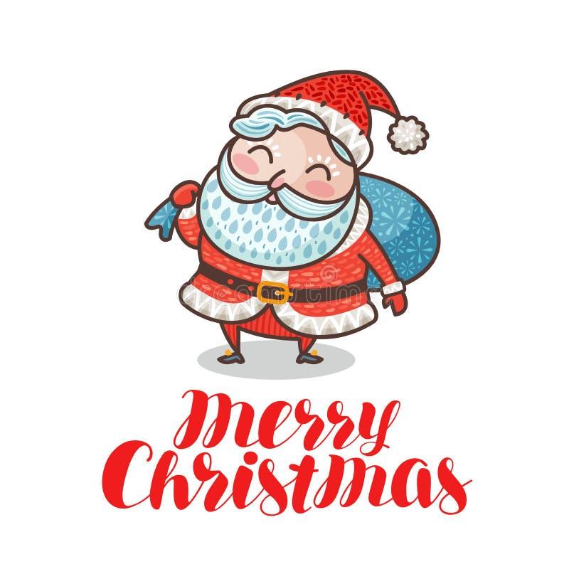 Feliz Natal, cartão ou bandeira Santa Claus bonito com o saco completo dos presentes Ilustração do vetor dos desenhos animados ilustração stock