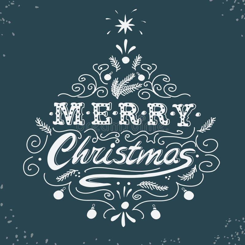 Feliz Natal, cartaz retro com rotulação da mão ilustração royalty free