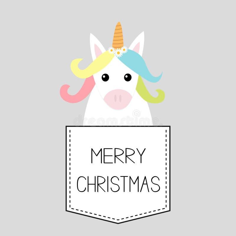 Feliz Natal Cavalo do unicórnio que senta-se no bolso Ano novo feliz Face e mãos Personagem de banda desenhada bonito Olá! invern ilustração stock