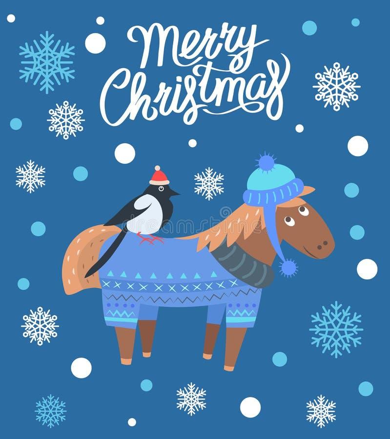 Feliz Natal cavalo e ilustração do vetor do pássaro ilustração stock
