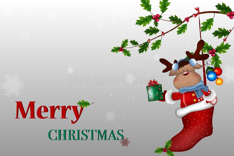 Feliz Natal Cervos de sorriso felizes do vetor que guardam um sinal vazio ilustração stock