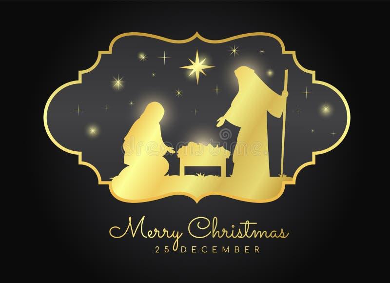 Feliz Natal com cenário noturno mary e Joseph do Natal em um comedoiro com bebê Jesus no quadro do vintage do ouro no preto ilustração royalty free