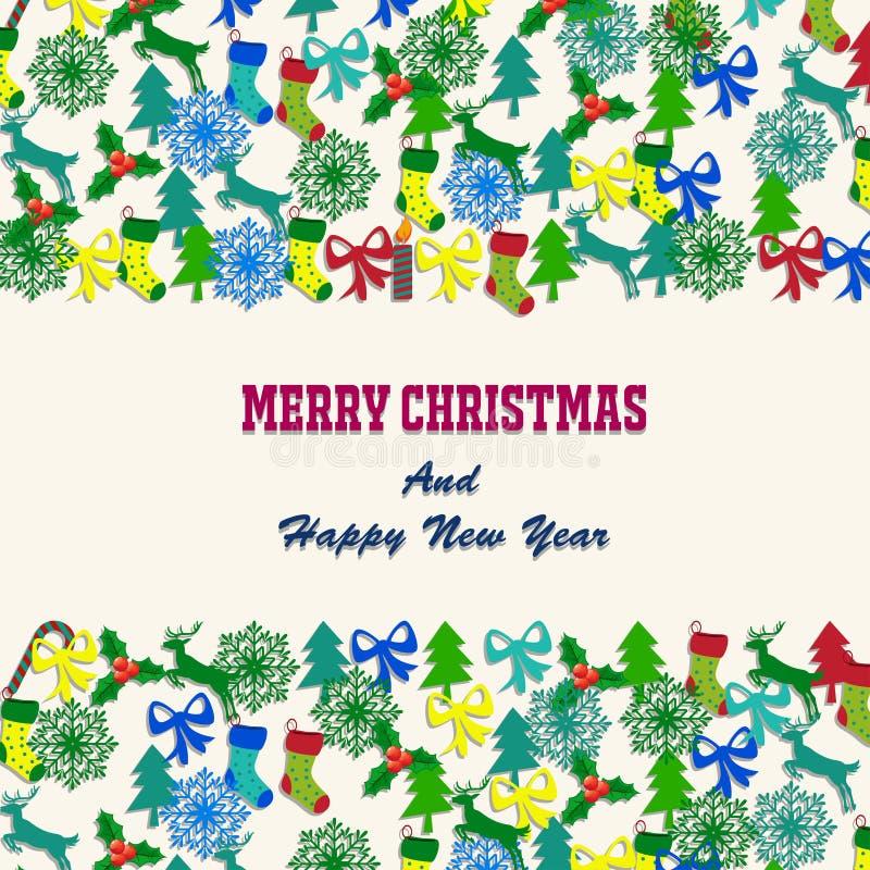 Feliz Natal com elementos das decorações ilustração royalty free