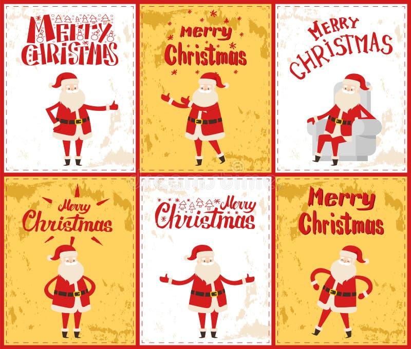 Feliz Natal com Santa Posing no vetor das imagens ilustração stock