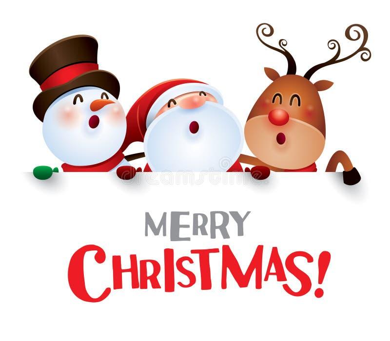 Feliz Natal! Companheiros do Natal feliz com sinal grande ilustração do vetor