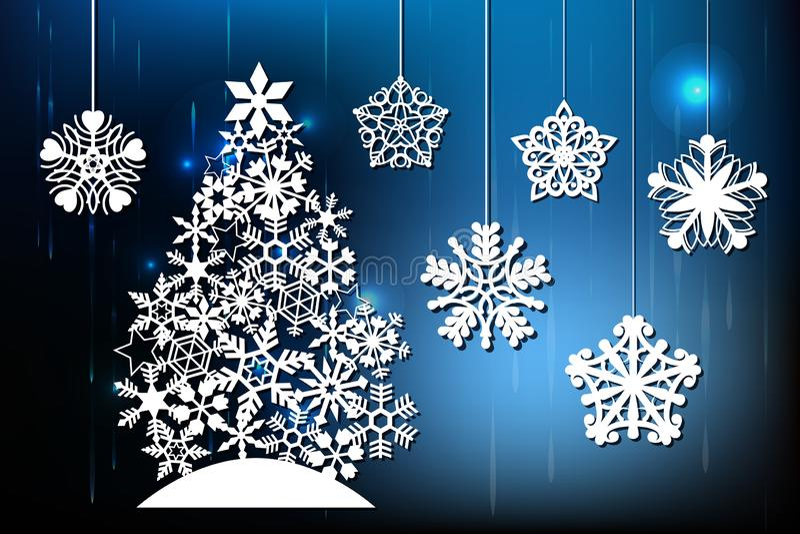 Feliz Natal, corte do laser Grupo de decorações do ano novo Objetos isolados do floco de neve, árvore do xmas Fundo de incandescê ilustração do vetor