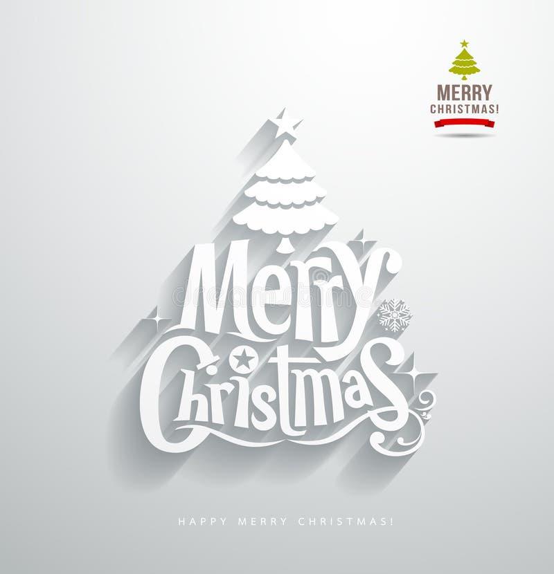 Feliz Natal, corte do papel de rotulação ilustração do vetor