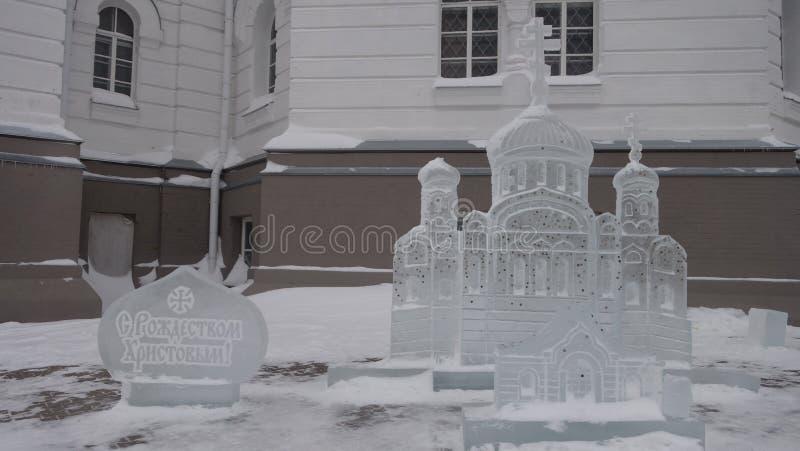 Feliz Natal da escultura de gelo fotografia de stock royalty free