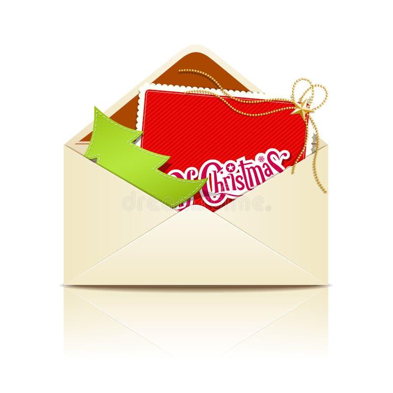 Feliz Natal da letra do envelope ilustração stock