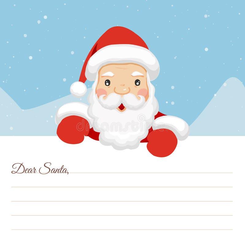 Feliz Natal da letra Letra a Santa Cara Santa Cara letra de Santa Papai Noel em um sledge Lista das crianças Christma ilustração stock