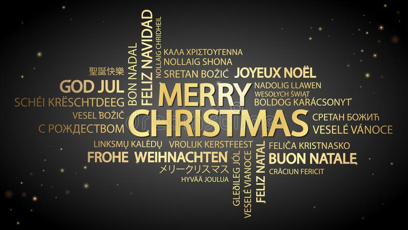 Feliz Natal da nuvem da palavra ilustração do vetor