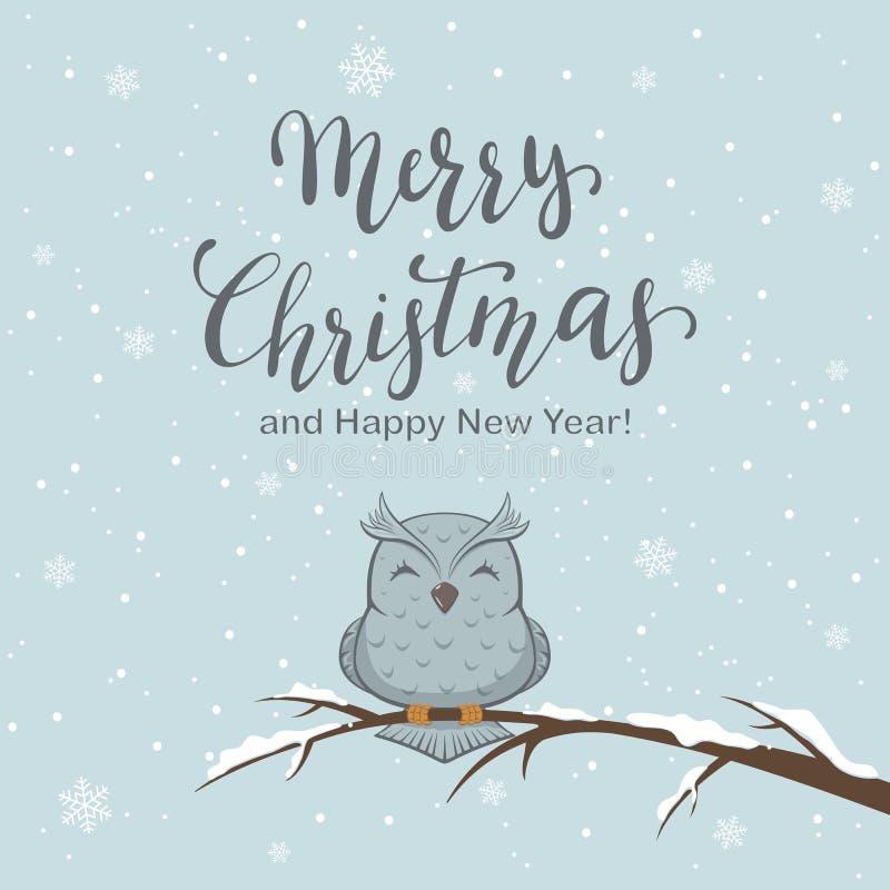 Feliz Natal da rotulação no fundo e na coruja do inverno ilustração royalty free