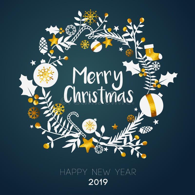 Feliz Natal dentro do cartão dourado do ornamento do círculo na cerceta escura ilustração royalty free