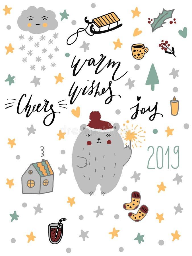 Feliz Natal do ano novo feliz 2019 ajustado Caráteres e animais Handdrawn da garatuja com rotulação Personagens de banda desenhad ilustração stock