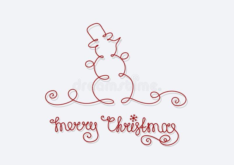 Feliz Natal do boneco de neve do cartão ilustração royalty free