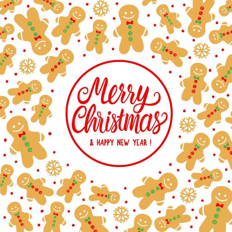 Feliz Natal do cartão com o homem doce da cookie do pão-de-espécie Ilustração do vetor no fundo branco Inscrição da rotulação ilustração stock