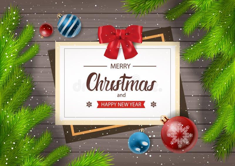 Feliz Natal do cartão dos feriados de inverno e cumprimento do ano novo feliz no fundo de madeira com ramos do abeto ilustração royalty free