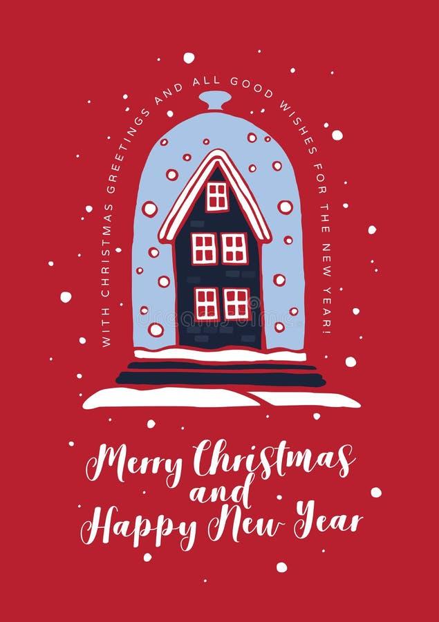Feliz Natal do cartão e ano novo feliz ilustração do vetor