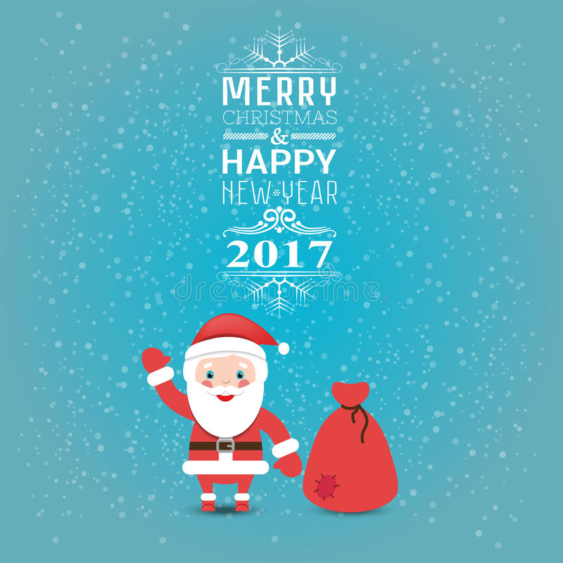 Feliz Natal do cartão ou do convite e ano novo feliz 2017 com Papai Noel e saco com presentes Ilustração do vetor lisa ilustração do vetor