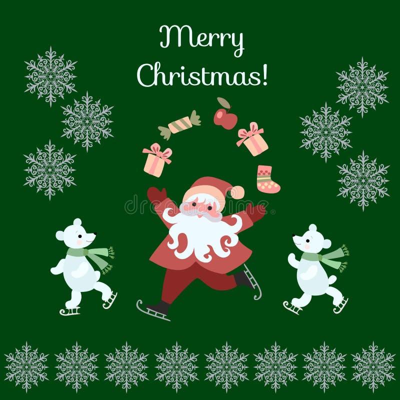 Feliz Natal do cartão! Presentes de mnanipulação de Santa Claus dos desenhos animados bonitos, e ursos polares em patins ilustração royalty free