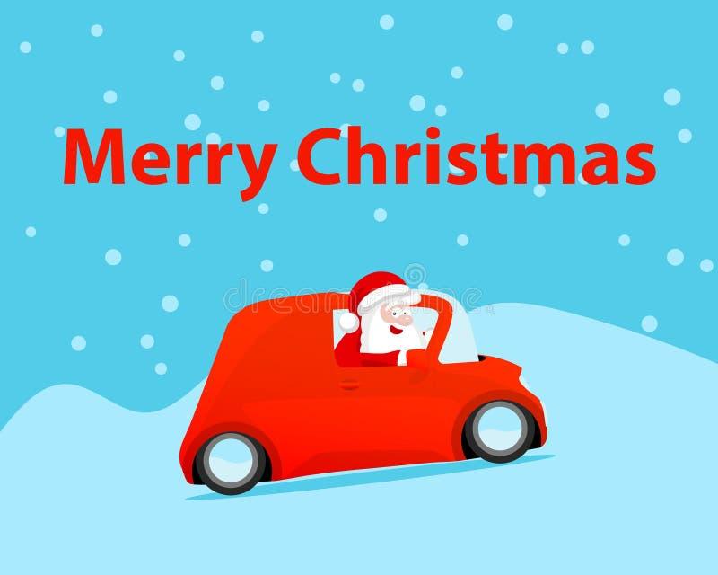 Feliz Natal do cart?o do presente Cor vermelha do carro da movimentação de Santa Claus do vetor em presentes nevados do inverno e ilustração do vetor