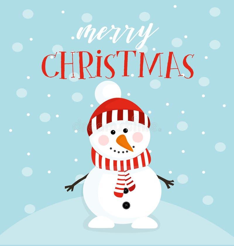 Feliz Natal do desejo a do boneco de neve Ilustração do vetor ilustração stock