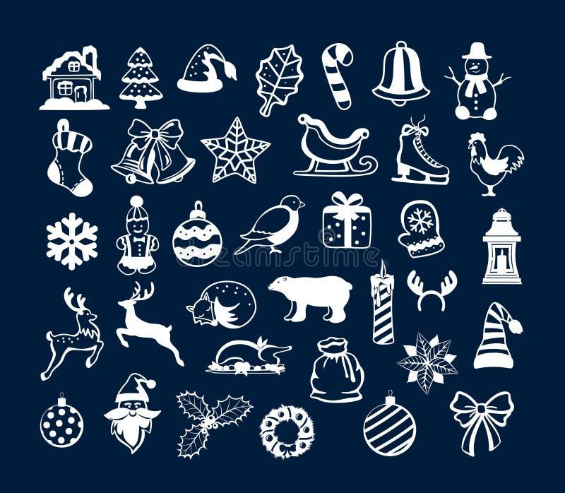Feliz Natal do inverno e elementos da decoração dos objetos do ano novo feliz ilustração do vetor