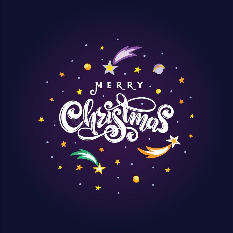 Feliz Natal do texto do vetor isolado na forma cósmica da bola redonda da noite Cartão de rotulação festivo escrito à mão do pres ilustração stock